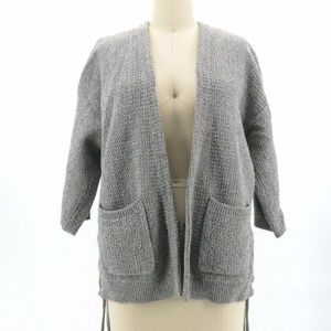 Madewell Side Lace-Up Open Front Cardigan Gray